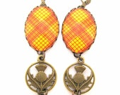 Scottish Tartan Jewelry - Ancient Romance Series - MacMillan Ancient Tartan Earrings with Thistle Charms