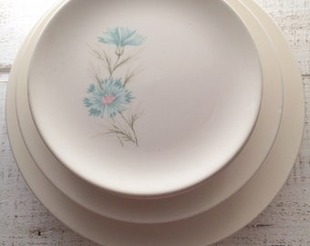 Pink and Aqua, Mid Century, 12 Plates, Pastel Party, Ever Yours Boutonniere, Taylor Smith, 1950s, Replacement, TST, Salad Plate