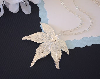 Silver Japanese Maple Leaf Necklace, Real Silver Leaf, Real Maple Leaf Necklace, Maple Leaf, Sterling Silver, LC66
