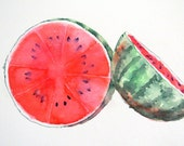 Funny Kitchen Art PRINT / Watermelon fruit Artwork Watercolor painting / Red color field illustration wall decor Botanical gardener gift