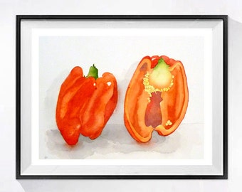 Red Peppers Foodie Art original Watercolor Painting vegetable artwork Kitchen art Botanical home decor Veggie art