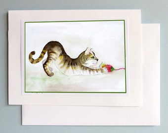 Watercolor Blank Note Card Funny cat greeting card Stretching cat illustration Tabby cat card Handmade all occasions Birthday LaBerge  7x5 N
