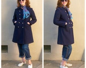 Vintage 60s pea coat / navy blue coat / silver nautical buttons, double breasted, bucket pockets /  womens small medium