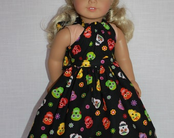 18 inch doll clothes, 2 piece set! sugar skulls print halter dress with matching belt, Upbeat Petites, Halloween dress