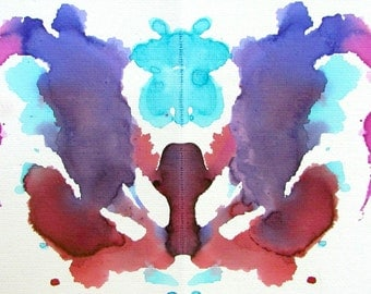 In The Ocean watercolor ink blot painting on canvas sheet
