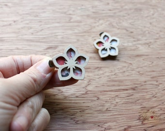 Starr Flower Mini Hair Clips - Laser Cut Maple Wood and Vintage Kimono Clips