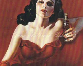 Digital Download Vintage PostCard and Billboard Images Lady Drinking Coca Cola on the Beach 0020