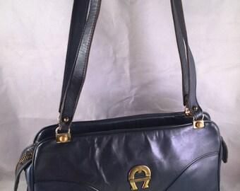 Vintage Navy Blue Leather Etienne Aigner Purse/Handbag with Double Shoulder Strap