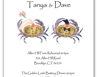 25 blue crabs invitations, rehearsal dinner,  wedding crab invitations, nautical wedding, save the date,crab invites Maryland blue crabs,