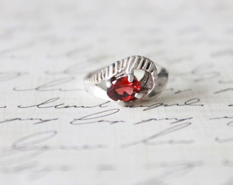 Antique 1940s Garnet Ring • Vintage 40s Sterling Silver Ring • Wedding Antique Fine Jewelry Engagement Promise Ring