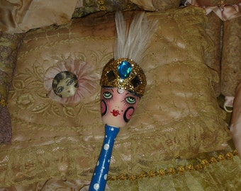 Vintage Style Flapper Showgirl  Hand Painted Wood Sock Darner Black & Blue