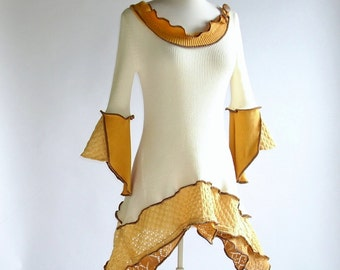 Mellow Yellow Lily Sleeve Upcycled Top/ Bohemian Tunic/Size XS (4-6)