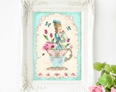 Marie Antoinette print, vintage illustration, teacup print, high tea print, kitchen print, kitchen wall decor, French country, home decor
