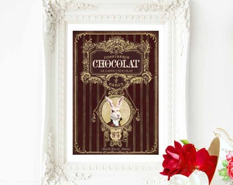 Chocolate rabbit print, French vintage decor with an anthropomorphic rabbit, A4 giclee