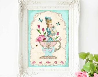 Marie Antoinette print, vintage illustration, teacup print, high tea print, kitchen print, kitchen wall decor, French country, home decor
