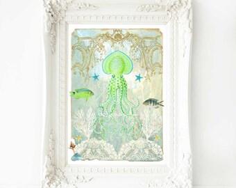 Octopus print, ocean, nautical, coastal, beach house, nursery decor, green and yellow option, A4