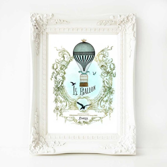 Hot air balloon print, French vintage decor, vintage flight, vintage bird cage, Steampunk art, Le Ballon, Paris, vintage hot air balloon, A4