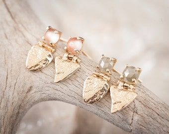 14k Stone Shield Studs with Sunstone   14k Gold Earrings with Sunstone
