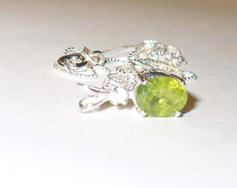 Green Garnet Pendant Necklace, Natural Grossular Garnet in Sterling Silver with Zircon Accent