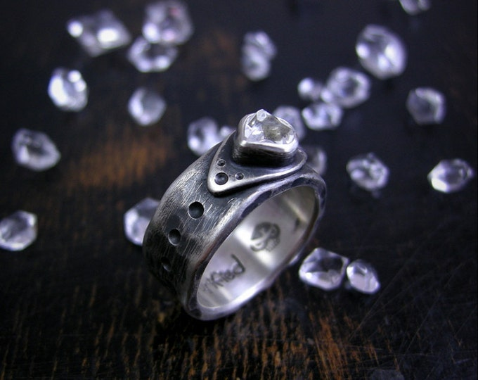 Made to order little Herkimer diamond quartz crystal on a beefy rustic 8mm wide sterling silver band
