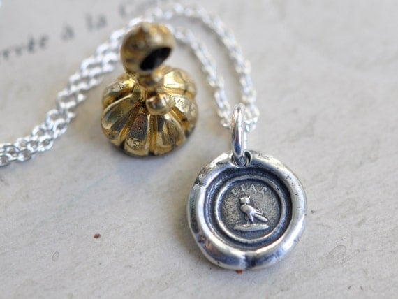 tiny owl wax seal necklace … Latin motto FIAT - be done - sterling silver antique fob wax seal jewelry