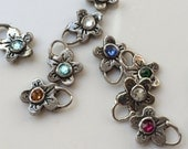 Birthstone Flower Charms Rustic Sterling Silver