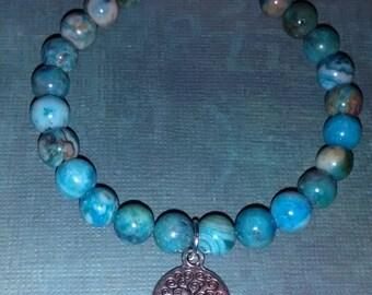 Buddha or Tree Of Life Charm Blue or Purple Crazy Lace Agate Gemstone (Mala) Bracelet