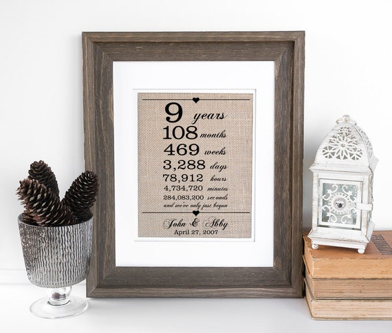 9th Wedding Anniversary Gift For Husband : ... Burlap Print 9th Wedding Anniversary Gift for Wife Husband