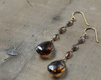 Long Brown Gemstone Teardrop Earrings