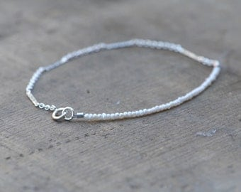 Teeny Tiny White Freshwater Pearl and Sterling Silver Chain Bracelet
