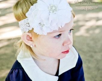 Baby Baptism Christening Headband - White Christening Headband - Baby Girl Blessing Headband .... White Headband Rhinestones and Pearls