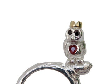Owl Ring, Sterling Silver, Black Diamond Eyes, Ruby Heart, 18ct Gold Crown. Precious Jewellery, Handmade in Brighton