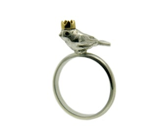 Bird Ring, Bird King Ring, Handmade Sterling Silver, Black Diamond Eyes, 18ct Yellow Gold Crown, Handmade in Brighton UK