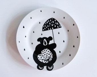Circus bear in the rain breakfast plate