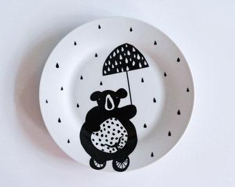 Bear in the rain breakfast plate