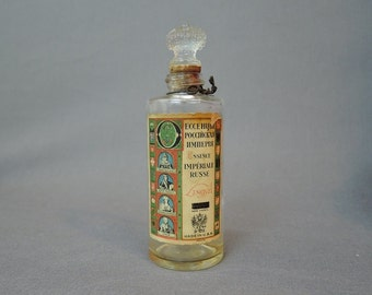 Vintage 1930s Perfume Bottle 'Essence Imperiale Russe' by Lengyel, 3 oz bottle Glass Stopper