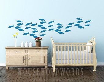 Blue tang wall sticker tropical fish decor fish wall decal