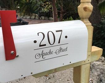 mailbox vinyl decal set of two modern mailbox custom address street name wall mount box