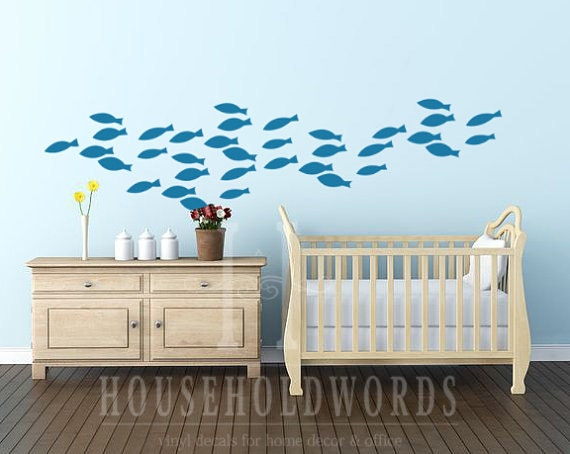 School of Fish Vinyl wall decal Nautical decor Nautical baby