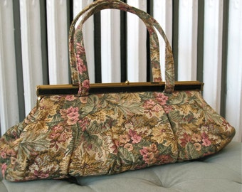 Laura | Vintage 1960s Floral Tapestry Purse with Gold Tone and Black Trim - Hinge Frame - Large and Long Body