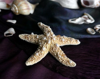 starfish hair clip - freshwater pearl & crystal, mermaid collection