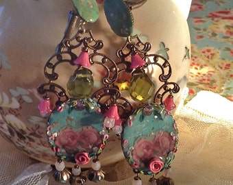 Lilygrace Pastel Rose Cameo Earrings with Vintage Rhinestones and Glass Flower beads