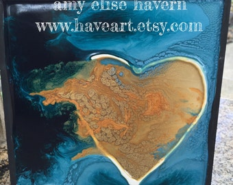 Modern HEART ART resin painting by Amy Elise Havern