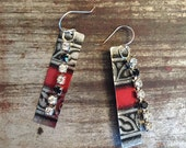 Vintage Repurposed Tin earrings on Sterling Silver, gifts for her, gifts under 20, repurposed vintage, Vintage Valentine, upcycled jewelry