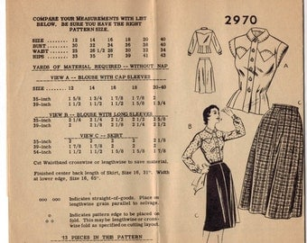 1950s Vintage Sewing Pattern Mail Order 2970 Misses Western Fitted Shirt and Skirt Size 16 Bust 34 1950s 50s