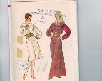 1980s Vintage Sewing Pattern Vogue 8451 Misses Tucked Front Grecian Dress with Belt Long Short Size 12 Bust 34 80s UNCUT