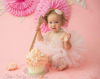 First Birthday Outfit Girl, SEWN Tutu and Baby Headband Set, Cake Smash Outfit Girl, 1st Birthday Outfit Girl, 1st Birthday Tutu Skirt Set
