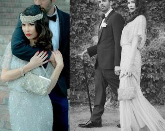 Bridal Head Piece, Swarovski Crystal Rhinestone Headband, Silver Head Dress, 1920's Flapper, Great Gatsby Wedding, Pearl Hair Accessory