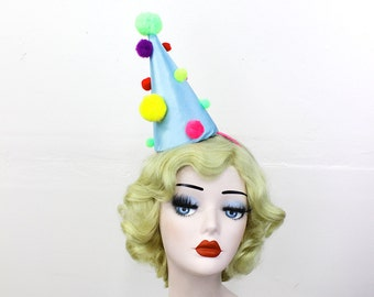 Clown Hat, Multi-Colored Pom Poms, Halloween Costume, Birthday Party Hat, Burlesque Headpiece, Theatrical Costuming, Circus Costume