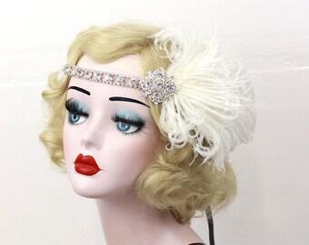 Ivory Feather Fascinator, Crystal Rhinestone Headband, Great Gatsby Hair Accessory, 1920s Flapper, Bridal Fashion, Wedding Headpiece